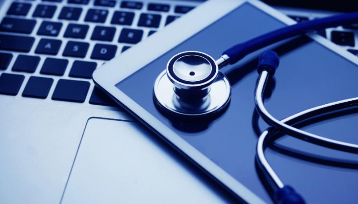 laptop keyboard, smartphone, stethoscope,