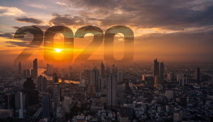 2020 overlooking cityscape during sunset
