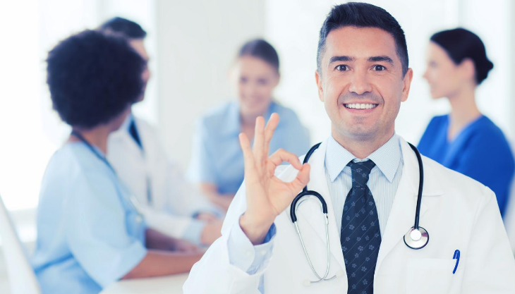 A doctor happy with how his practice is doing finacially