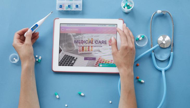 A medical practice website on a tablet