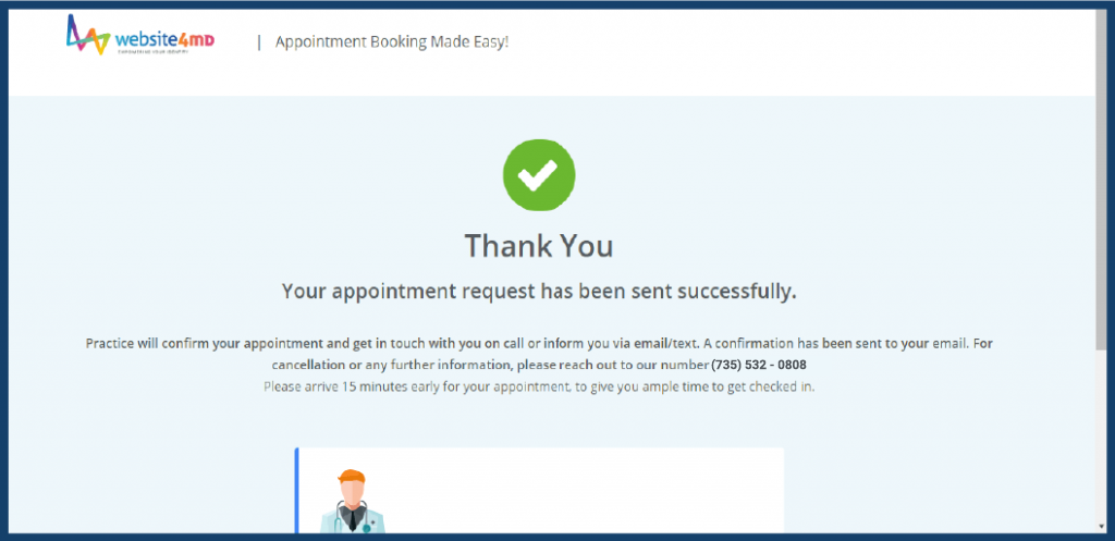 Appointment Thank you page