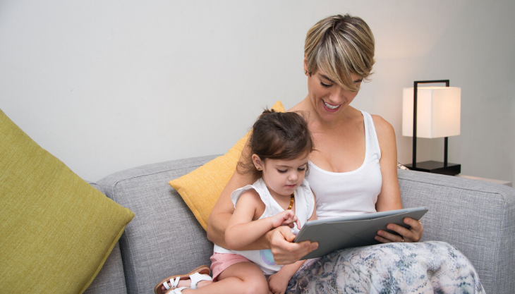 Mother and Daughter Using a Patient Portal on a Tablet